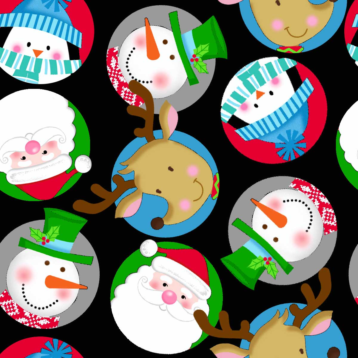 "FABRIC EDITIONS, COTTON FABRIC, FAT QUARTER 18""X21"", HOLIDAY NORTHPOLE CHARACTERS"
