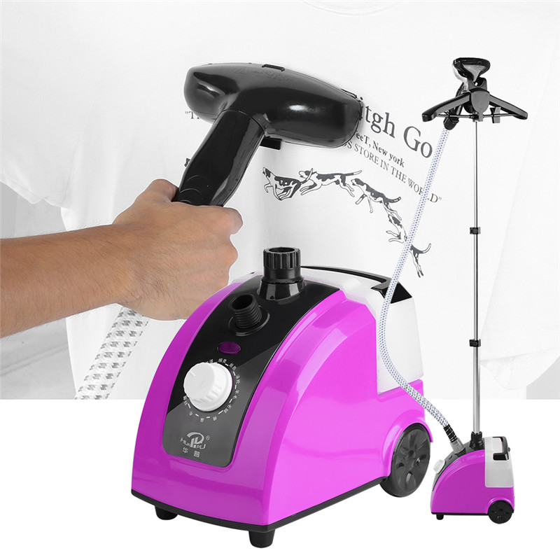 1.7L Clothes Steamer,Standing Clothes Steamer 1700W Portable Garment Steamer Fabric Steamer with Garment Hanger And Steam Pipe For Home,Purple