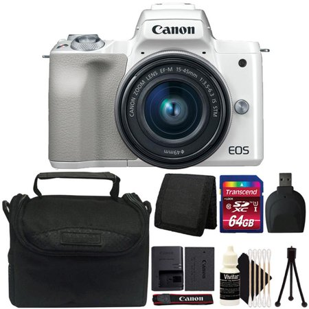 Canon EOS M50 Mirrorless Built-in Wifi Camera with 15-45mm Lens White and 64GB Accessory