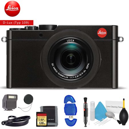 Leica D-LUX (Typ 109) Digital Camera (Black) - Includes - Memory Card Kit, Cleaning Kit And