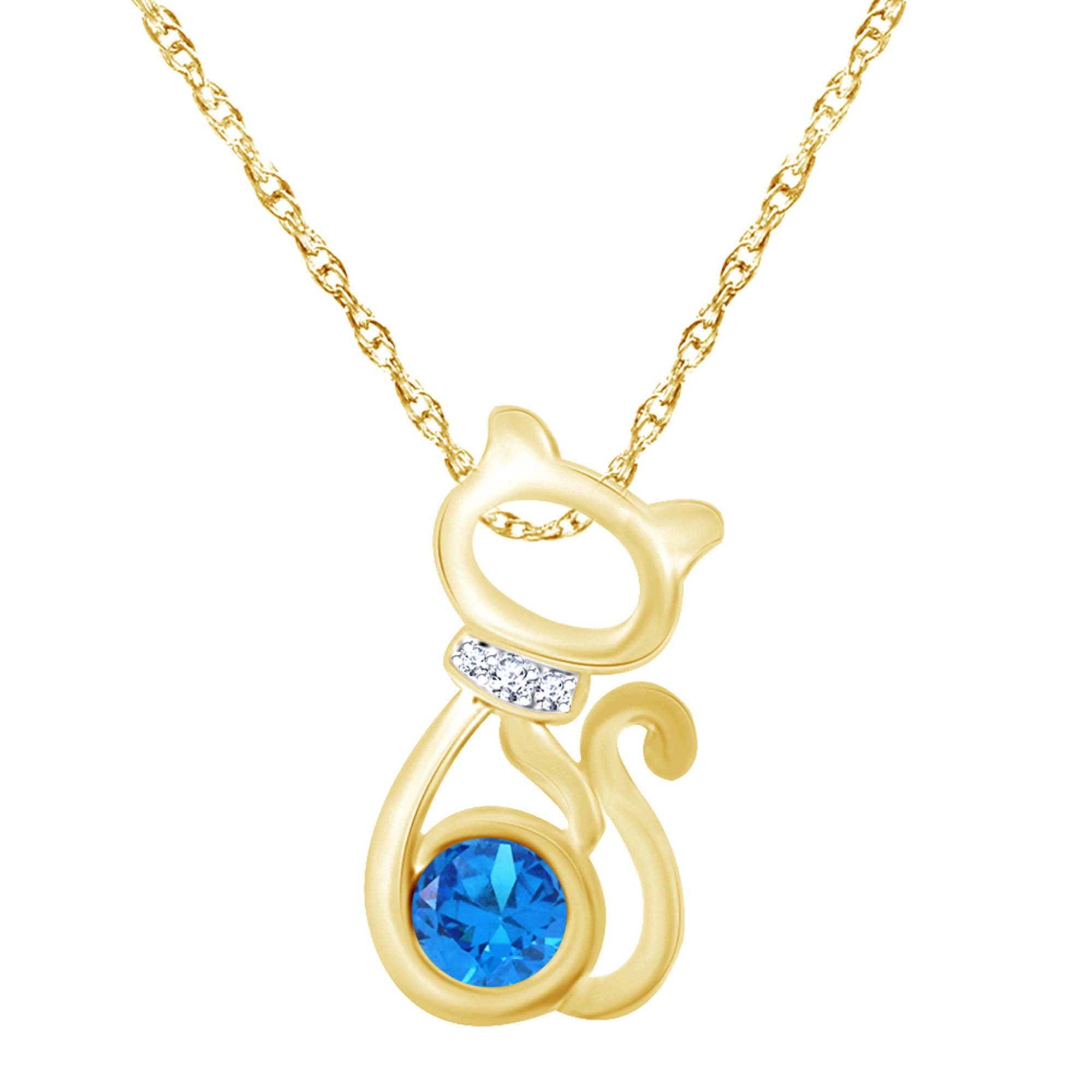 Wishrocks 14K Gold Over Sterling Silver Round Cut White CZ Heart Pendant Necklace