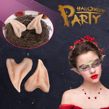 Halloween Prosthetic (Latex Fairy Pixie Elf Fake Ears ,iClover Cosplay Accessories Halloween Party Soft Pointed Prosthetic Tips Ear---2)