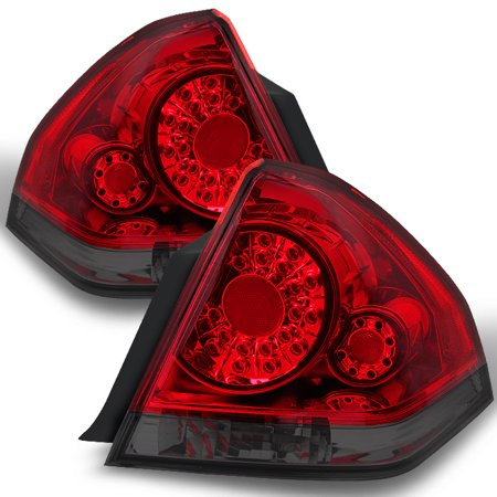 (Fit 06-13 Chevy Impala Red Smoked LED Tail Lights Replacement)
