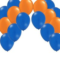 "50 Latex Party Balloons - Blue & Orange - 12"" Round"