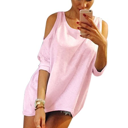 112dc95296f54 Sexy Dance - Cold Shoulder Tops for Women Loose Crew Neck Batwing Sleeve  Blouse Ladies Solid T-shirts Cut Out High Low Tee Shirts - Walmart.com