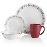 Corelle 16-Piece Casual Nordic Blooms Glass Dinnerware Set