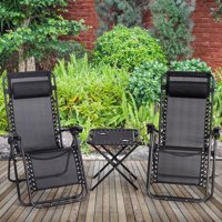 3 pcs Folding Portable Zero Gravity Reclining Lounge Chairs Table