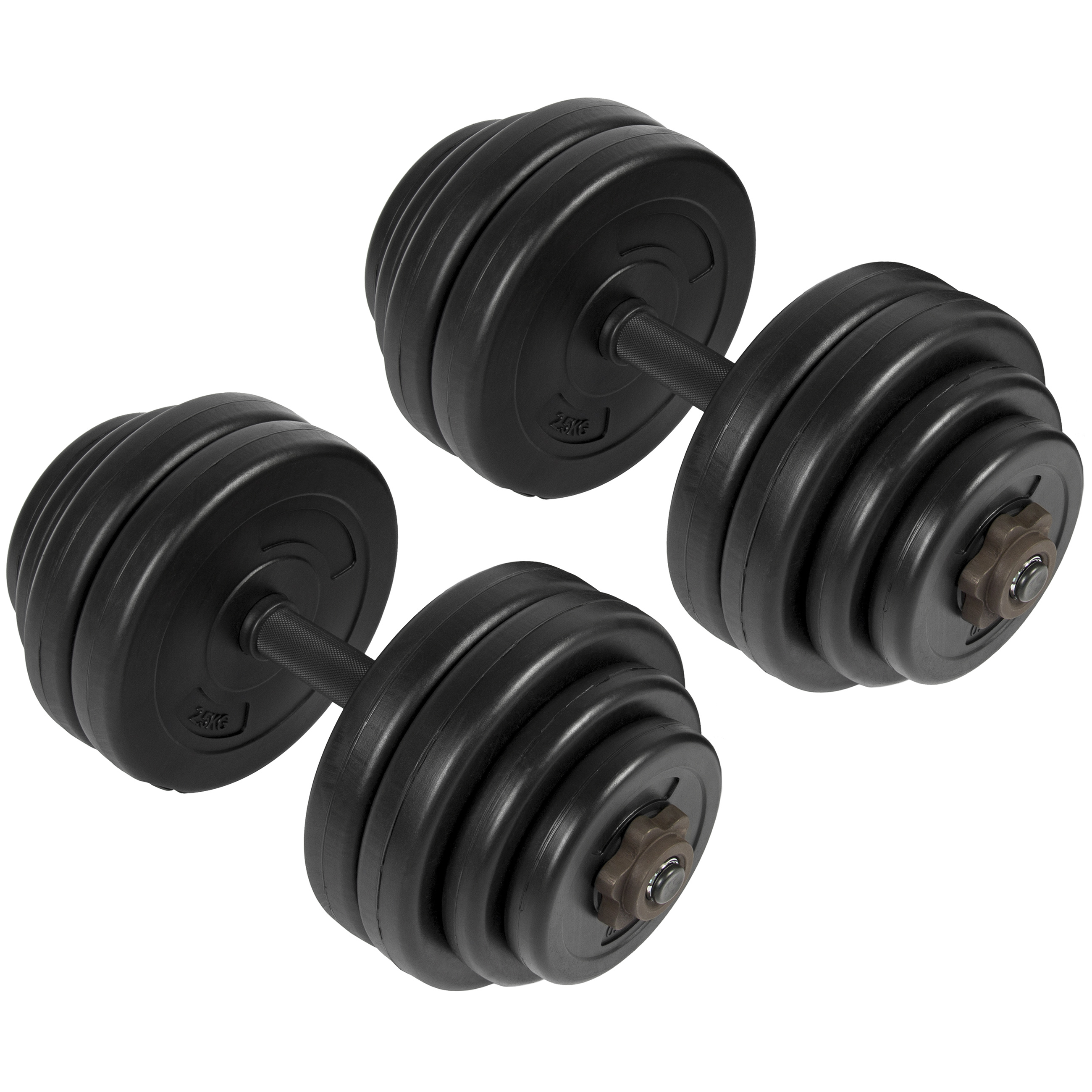 Best Choice Products 64lb Gym Workout Dumbbell Weight Barbell Set w/ Adjustable Caps - Black