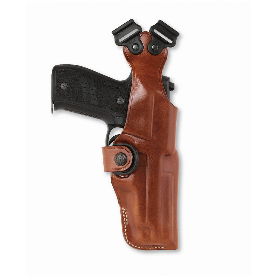 Galco Vertical Shoulder Holster System, Fits Glock 17 19, Ambidextrous, Tan Leather by Galco