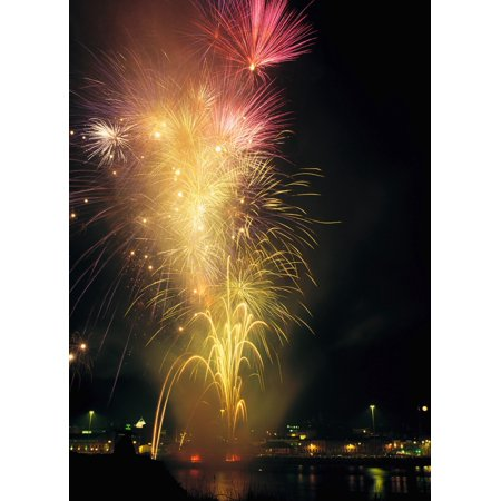 Derry Co Derry Ireland Display Of Fireworks Canvas Art - The Irish Image Collection  Design Pics (13 x 18)