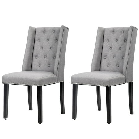 Set Of 2 Grey Elegant Dining Side Chairs Button Tufted Fabric W/ Nailhead ()