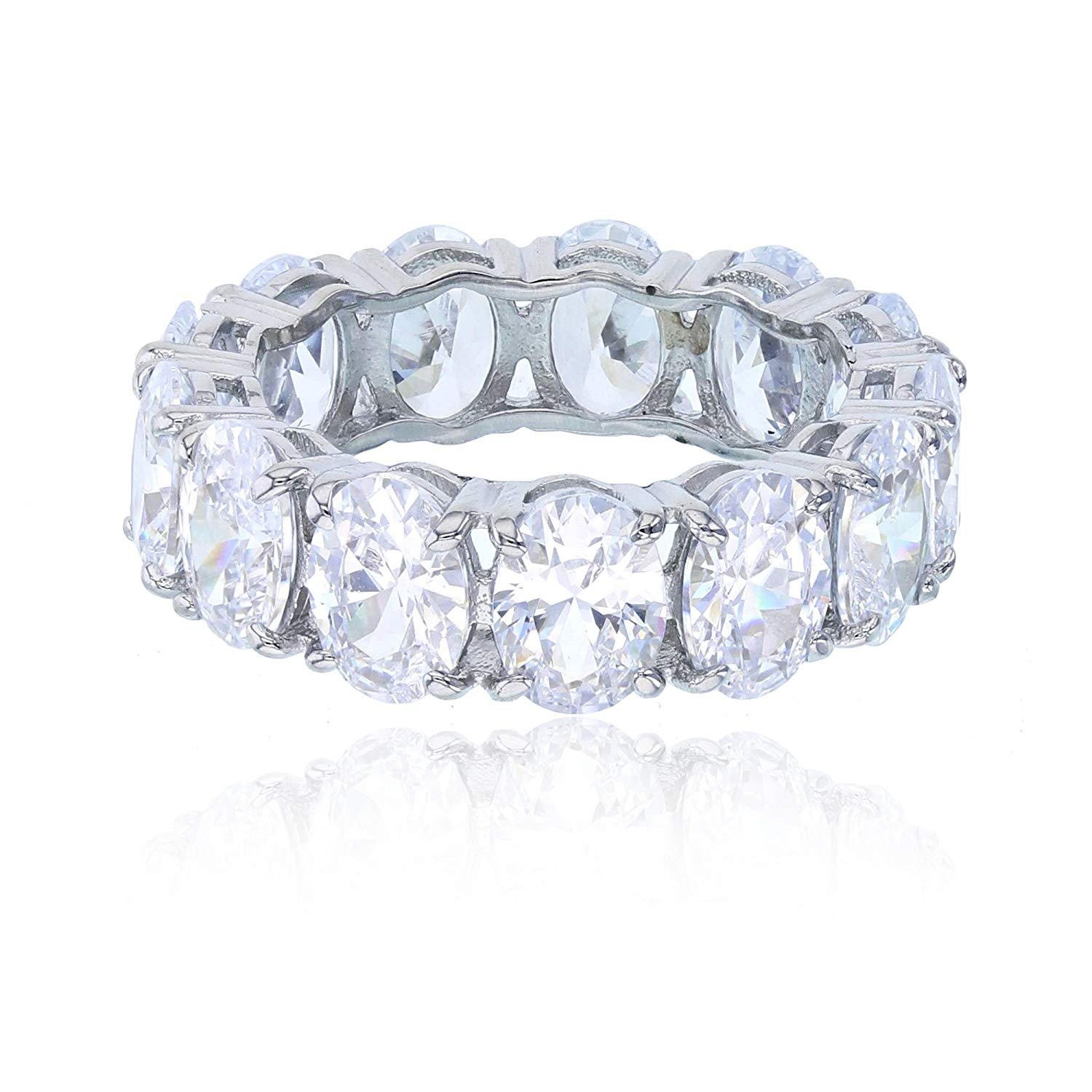 Sterling Silver Rhodium Pave Honeycomb Fashion Cubic Zirconia Ring