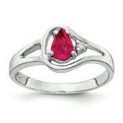 Primal Gold 14 Karat White Gold 6x4mm Pear Ruby and Diamond Ring