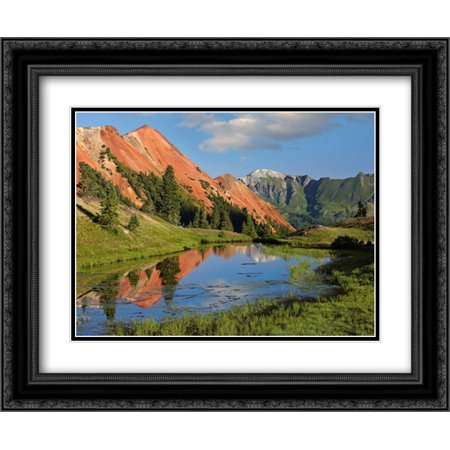 Red Mountain gets its color from iron ore in the rock, Gray Copper Gulch, Colorado 2x Matted 24x20 Black Ornate Framed Art Print by Fitzharris, (Best Way To Get Copper)