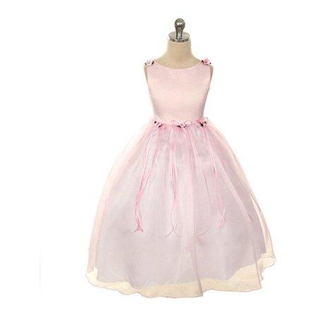 Kids Dream Little Girls Pink Rosebud Organza Flower Dress - Girl Pink Dress