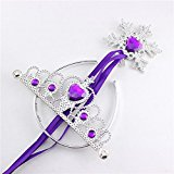 2 Pcs Princess Dress Up Accessories Role Play Prop Crown Tiara Headband and Snowflake Wand Set For Kids Birthday Christmas Toy Gift - Princess Tiaras For Kids