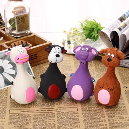 Latex Cat Toy (Cute Cartoon Cat and Dog Sound Latex Pet Toys, Random Style)