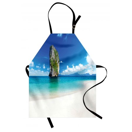 Island Apron Big Tall Poda Cliff Rock in the Sea in Asian Coastline Exotic Vacation Scene, Unisex Kitchen Bib Apron with Adjustable Neck for Cooking Baking Gardening, Blue White Cream, by Ambesonne (Big And Tall Apron)