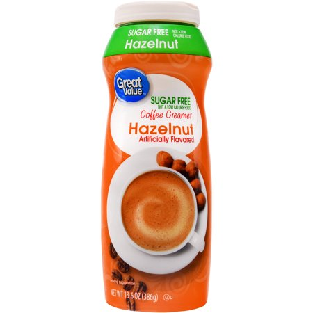 (6 Pack) Great Value Coffee Creamer, Sugar Free, Hazelnut, 20 oz