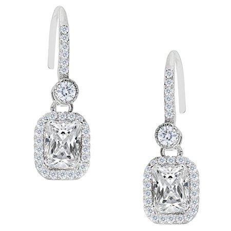 Athena 18k White Gold Emerald Cut CZ Halo Drop Earrings, Dangling Crystal Square Earring Set for Women, Silver Cubic ZIrconia Halo Earrings, Wedding Anniversary Jewelry MSRP - $150
