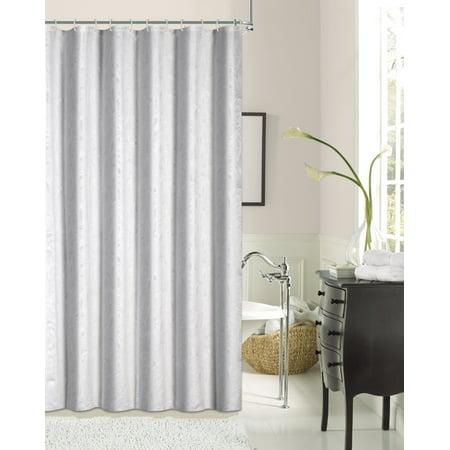 Dainty Home Lisbon Printed Leaf Fabric Shower Curtain