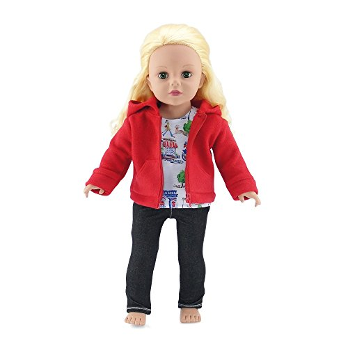 18 Inch Doll Clothes | Hooded Fleece Jacket Outfit with Pockets, Includes Black Stretch... by Emily Rose Doll Clothes