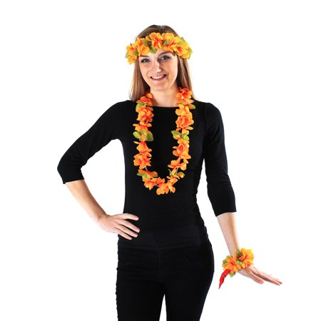 Hawaii Luau Party Artificial Fabric Princess Lei Head Band Haku 4 Wristbands Set Yellow - Artificial Hawaiian Leis