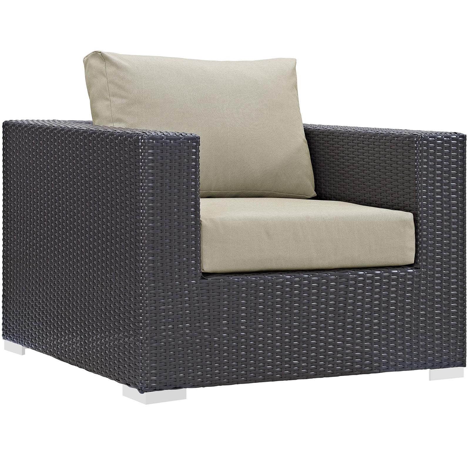 Modern Contemporary Urban Design Outdoor Patio Balcony Lounge Chair, Beige, Rattan