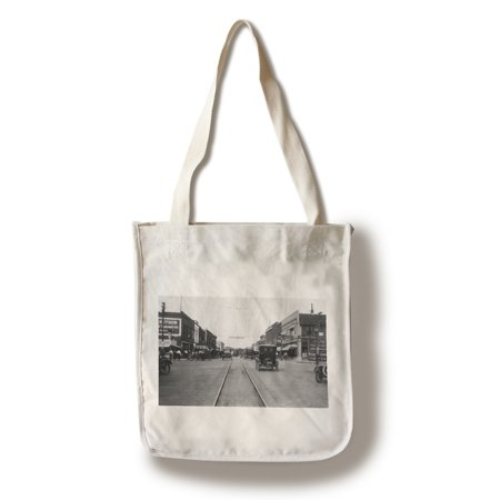 Clear Lake, Iowa - View of Main Street, Baseball Banner (100% Cotton Tote Bag - Reusable) - Bag Of Baseballs