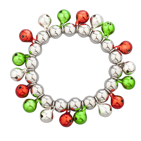 Lux Accessories Silver Tone Multi Color Christmas Jingle Bells Stretch Bracelet
