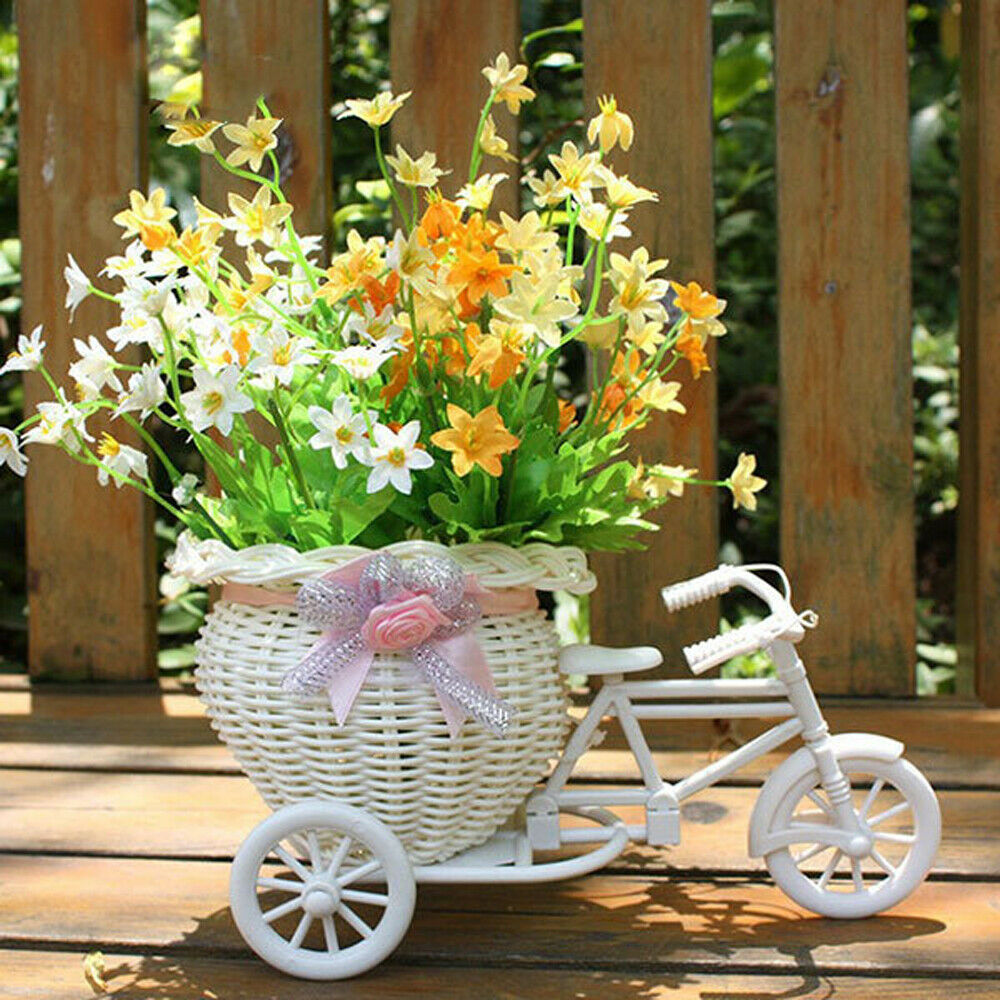 Plastic Tricycle Bike Design Flower Basket Container For Home Wedding Decorate