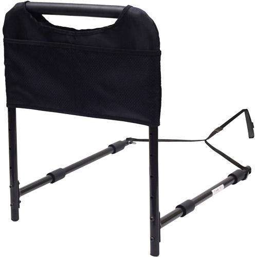 Able Life Bedside Safety Handle + Organizer Pouch - Adjustable, black