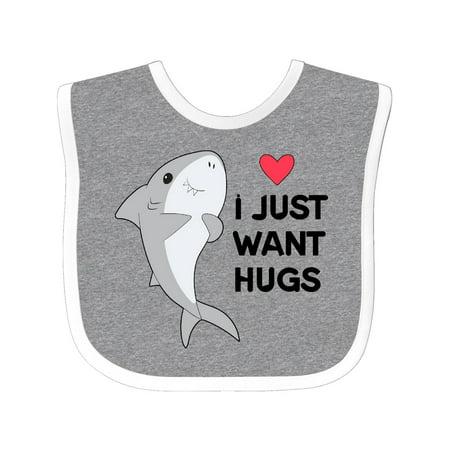 I Just Want Hugs cute shark Baby Bib Heather/White One Size](Baby Hogs)