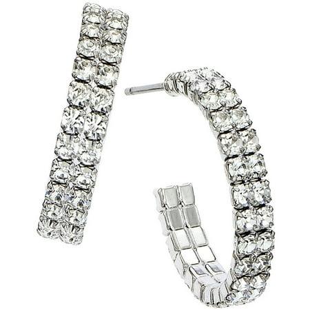 Handset Austrian Crystal Rhodium-Plated Double-Row 20mm Hoop Earrings