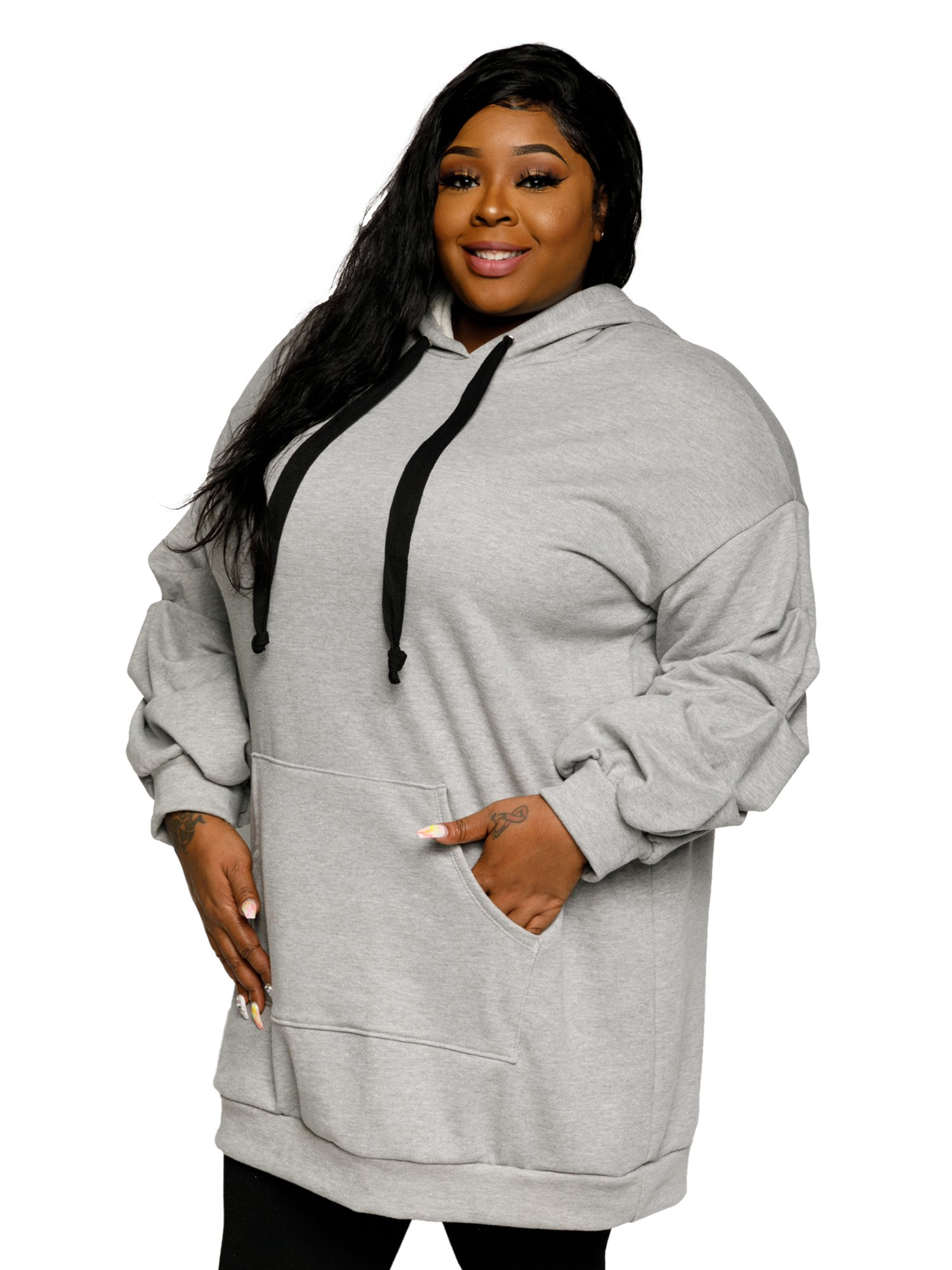 78c78e9d2cd Xehar - Xehar Women s Plus Size Casual Oversized Ruched Hoodie Sweater  Dress - Walmart.com