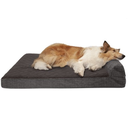 FurHaven Pet Dog Bed | Cooling Gel Memory Foam Orthopedic Quilted Fleece & Print Suede Lounge Pet Bed for Dogs & Cats, Espresso,