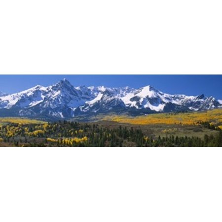 Mountains covered in snow Sneffels Range Colorado USA Canvas Art - Panoramic Images (18 x 6)