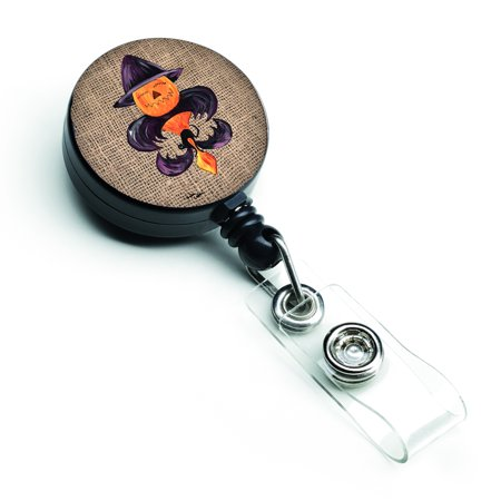 Halloween Pumpkin Bat Fleur de lis Retractable Badge Reel 8748BR - Halloween Retail