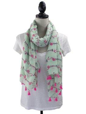 Womens Flamingo Print Tassels Oblong Cotton Scarf Lightweight Shawls (Green)