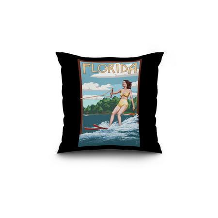 Florida Water Skier Lake Lantern Press Artwork 18x18 Spun Polyester Pi