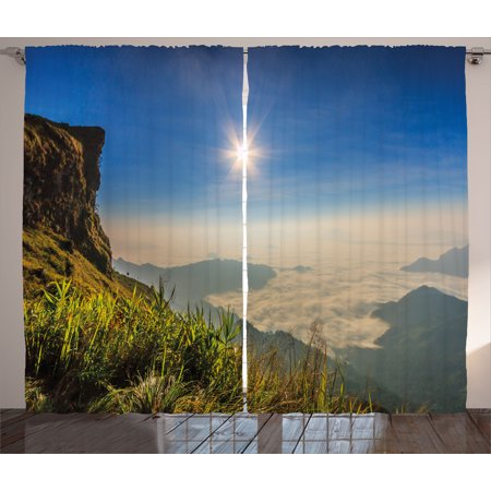 Landscape Curtains 2 Panels Set  Mother Nature Inspired Cliff Mountain Wiev From The Peak Sunbeams Clouds Photo  Window Drapes For Living Room Bedroom  108W X 96L Inches  Multicolor  By Ambesonne