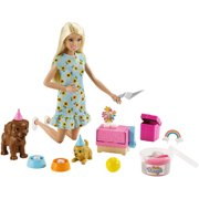 Barbie Doll and Puppy Party Playset with Puppies, Dough and Cake Mold, 3 to 7 Year Olds