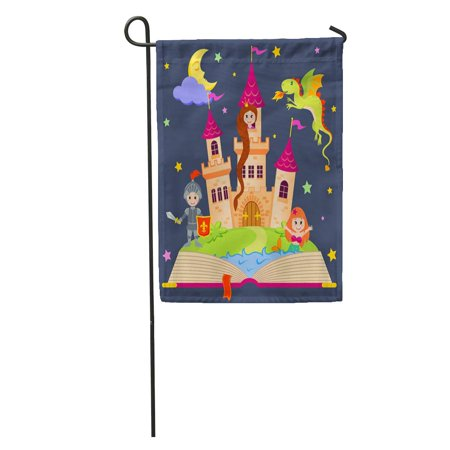 KDAGR Pink Tale Fairytale Book Castle Princess Knight Mermaid Dragon Fairy Garden Flag Decorative Flag House Banner 12x18 inch