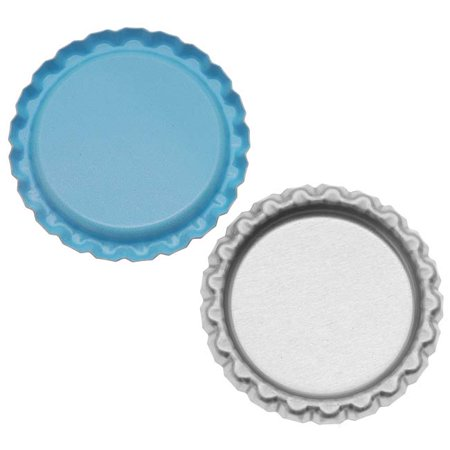 New Light Blue Flat Crown Bottle Caps Craft Scrapbook Jewelry No Liners (50)