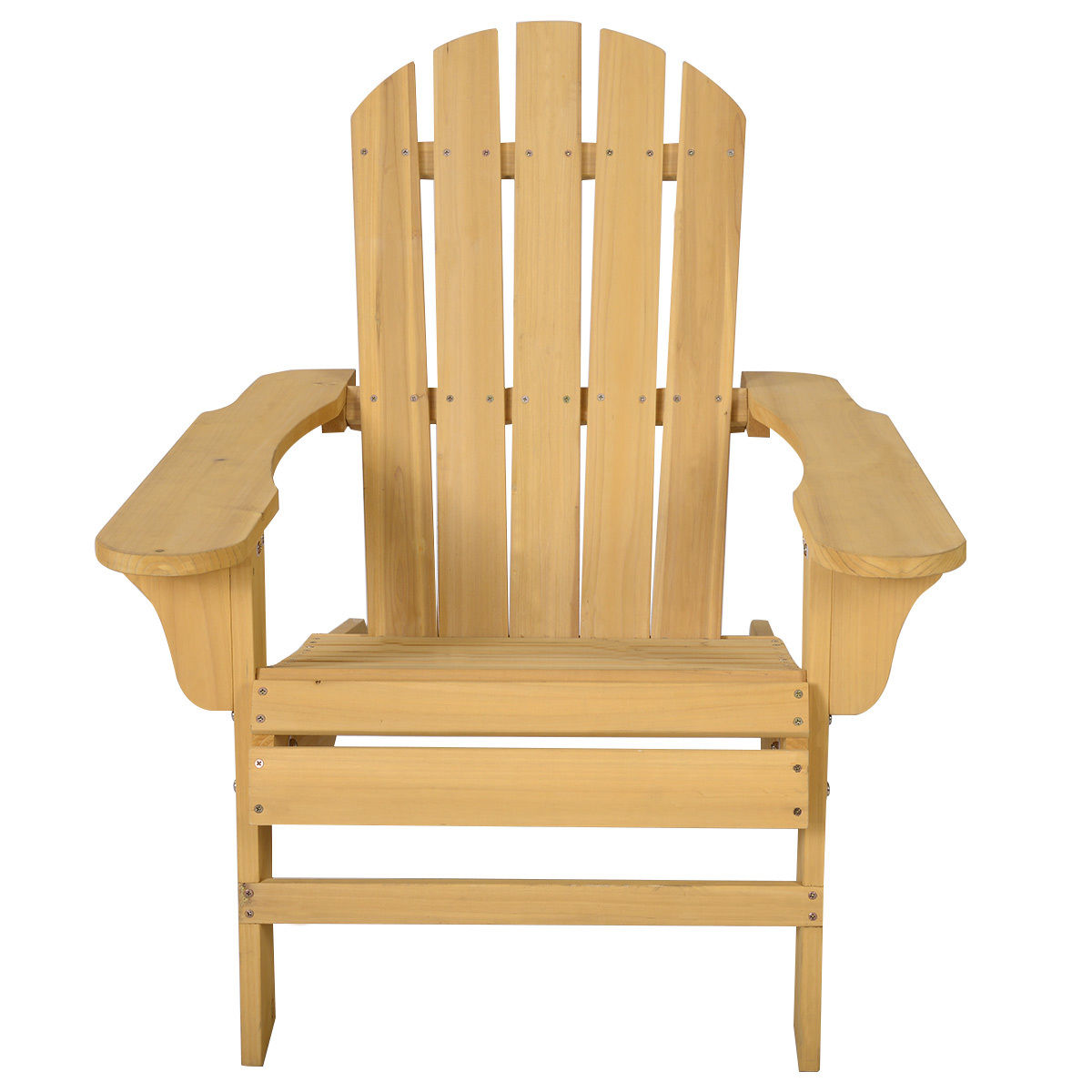 "GHP 29.5""x35.8""x32.6"" Natural Fir Wood Contoured Seat Outdoor Patio Adirondack Chair"
