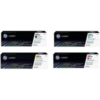 HP 202A (CF400A, CF401A, CF402A, CF403A) Black/Cyan/Magenta/Yellow Original LaserJet Toner Cartridges, 4-Color Set