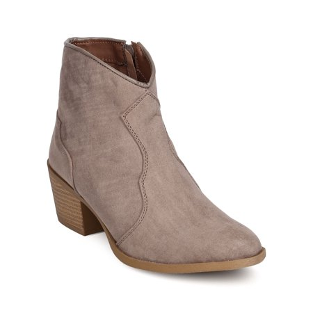 FF04 Women Faux Suede Pointy Toe Cowboy Bootie - Camel