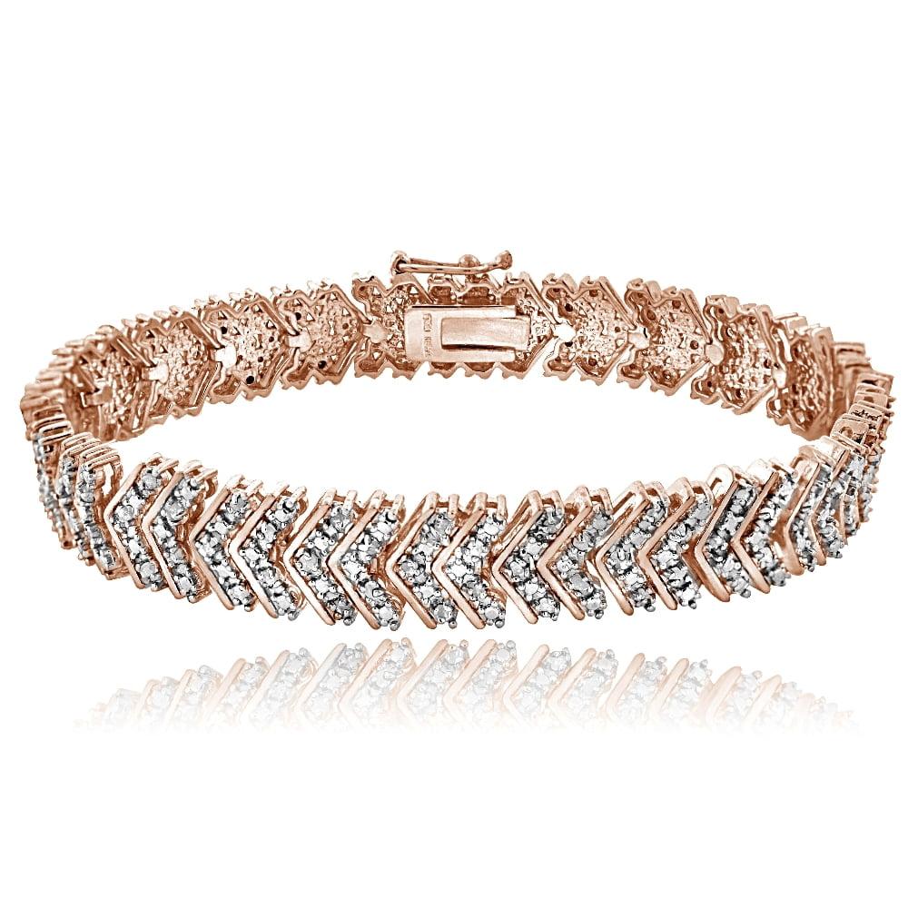 18K Rose Gold Tone 1ct TDW Diamond Chevron Bracelet by