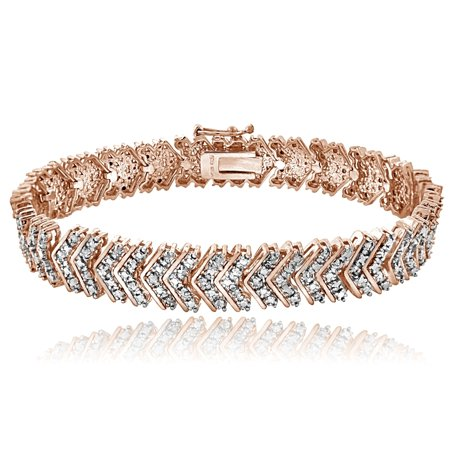 18K Rose Gold Tone 1ct TDW Diamond Chevron Bracelet