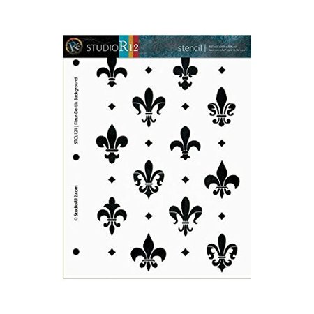 Fleur de Lis Stencil by StudioR12 | French Style Background Art - Medium 8.5 x 11-inch Reusable Mylar Template | Painting, Chalk, Mixed Media | Use for Crafting, DIY Home Decor - STCL121_1